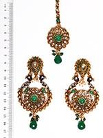Peacock Indian Earrings and Tikka IAGA04389 Indian Jewellery