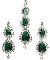 Indian Jewellery Set - Earrings and Wide Tikka - Sweety ISWK10610C Indian Jewellery