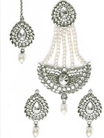 Mia Stud Earrings, Tikka & Pearl Jhumar Set ISWC10237 Indian Jewellery