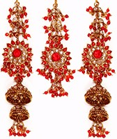 Sahara Jhumka Earrings & Tikka Set IARP10255 Indian Jewellery