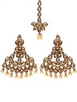Golden Diamond & Pearl Fashion Earrings and Tikka IANA10994 Indian Jewellery
