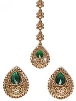 American Diamond, Antique Stud Earrings & Tikka - Sumandeep IARA11008C Indian Jewellery