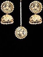 Statement jaali lazer cut, round tikka & jhumkis IEWL11113C Indian Jewellery