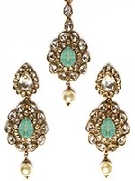 American diamond Indian earrings & tikka in mint green IAGA11114 Indian Jewellery