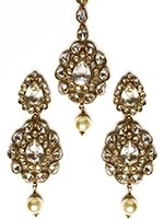 American diamond Indian earrings & tikka in clear IAWA11115 Indian Jewellery
