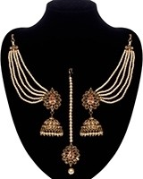 Regal Indian Jhumkas, saharas & tikka jewellery set IANA11122 - Champagne Gold Indian Jewellery