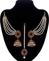 Regal Indian Jhumkas, Saharas & Tikka Jewellery Set IANA11123C Indian Jewellery