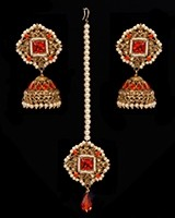 Champagne Indian jhumka earrings & tikka jewellery set - Orange IAOA11124 Indian Jewellery