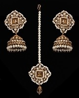 Champagne Indian jhumka earrings & tikka jewellery set IANC11354 Indian Jewellery
