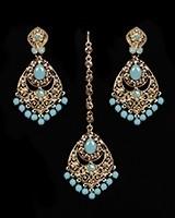 Antique Chandelier earring & Tikka Set, Sky Blue - PRAJANA IALC11359 Indian Jewellery
