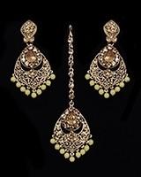 Antique Chandelier earring & Tikka Set, Lemon Yellow - PRAJANA NAYC11360 Indian Jewellery