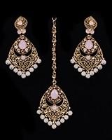 Antique Chandelier earring & Tikka Set, Blush Pink - PRAJANA NAPC11362 Indian Jewellery