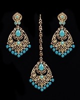 Antique Chandelier Indian Earring & Tikka Set - PRAJANA NANC11365C Indian Jewellery