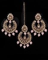 Value Antique Indian Earrings & Tikka Jewellery - blush IAPK11494 Indian Jewellery