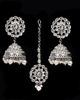 American Diamond, Silver Jhumki Indian Earrings & Tikka ISWA11567 Indian Jewellery