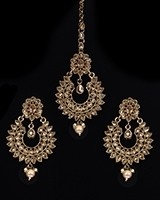 Antique American Diamond, Asian Earrings & Tikka IANA11568 Indian Jewellery