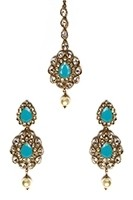 American Diamond, Antique Indian Earrings & Tikka - sky blue IALA11570 Indian Jewellery