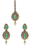 American Diamond, Antique Indian Earrings & Tikka - mint green IAGA11571 Indian Jewellery