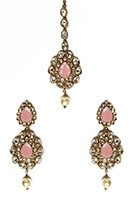 American Diamond, Antique Indian Earrings & Tikka - peach IAPA11572 Indian Jewellery