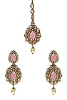 American Diamond, Antique Indian Earrings & Tikka - baby pink IAPA11573 Indian Jewellery