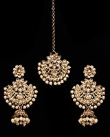 Champagne Antique Medium Tikka & Dangler Jhumki Earring Set - golden champagne (lct) IANK11623 Indian Jewellery
