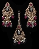Mughal Antique American Diamond Jhumka Earrings & Tikka Set - ruby maroon red & grey mix IAEA11625 Indian Jewellery