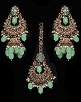 Mughal Antique American Diamond Jhumka Earrings & Tikka Set - mint green IAGA11628 Indian Jewellery
