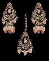 Mughal Antique American Diamond Jhumka Earrings & Tikka Set - peach IAPA11629 Indian Jewellery