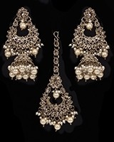 Mughal Antique American Diamond Jhumka Earrings & Tikka Set - golden champagne (lct) IANA11635 Indian Jewellery