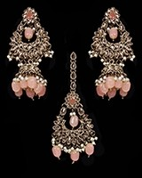 Mughal Antique American Diamond Jhumka Earrings & Tikka Set - peach IAPA11629 Indian Jewellery