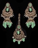 Indian Antique Jhumka Earrings & Tikka Jewellery Set IANA11636C Indian Jewellery