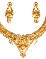 22k Gold Effect Indian Necklace Set NGWN04685 Indian Jewellery