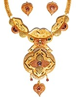 22k Effect Indian Hearts Necklace Set NGMP04693 Indian Jewellery