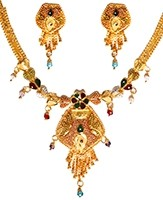 22k Effect Indian Necklace Set NGMP04694 Indian Jewellery