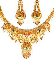 22k Effect Indian Necklace Set NGAP04698 Indian Jewellery