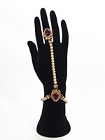 2 x Elegant Pearl & Antique Crystal Indian Hath Panjas - purple HEUL11404 Indian Jewellery