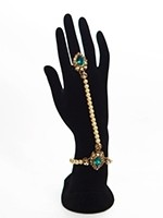 Elegant Pearl & Antique Crystal Indian Hath Panjas - teal HELL11405 Indian Jewellery