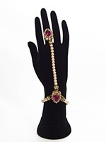 2 x Elegant Pearl & Antique Crystal Indian Hath Panjas - fuchsia pink HEPL11406 Indian Jewellery