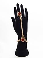 2 x Elegant Pearl & Antique Crystal Indian Hath Panjas - bright red HERL11408 Indian Jewellery