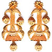 Large Matt Gold 22k Effect Earrings EEWN10379 Indian Jewellery