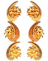 Large Matt Gold 22k Effect Earrings EEWN10380 Indian Jewellery