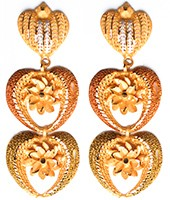 Large Matt Gold 22k Effect Flower Earrings EEWN10381 Indian Jewellery