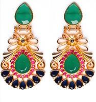 Large Matt Gold Earrings - Rangeela EEMA10383 Indian Jewellery