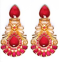 Large Matt Gold Earrings - Rangeela EERA10385 Indian Jewellery