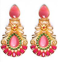Large Matt Gold Earrings - Rangeela EEPA10386 Indian Jewellery