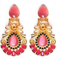 Large Matt Gold Earrings - Rangeela EEPA10387 Indian Jewellery