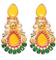 Large Matt Gold Earrings - Rangeela EEYA10389 Indian Jewellery