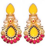 Large Matt Gold Earrings - Rangeela EEYA10390 Indian Jewellery
