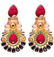 Large Matt Gold Earrings - Rangeela EEMA10392 Indian Jewellery