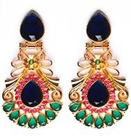 Large Matt Gold Earrings - Rangeela EEPA10394 Indian Jewellery